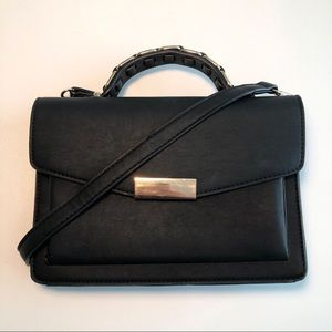 Top Handle Black Crossbody Bag with Gold Details